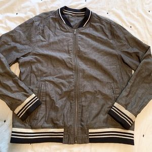 Men's Goodfellow Bomber Jacket Stripe Varsity Cuff